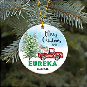 """Christmas Ornament 2019 Eureka Illinois IL Christmas Decoration Funny Gift Christmas Together First Christmas as a Family Couples Gifts Boyfriend Girlfriend 3"""" Flat Circle"""