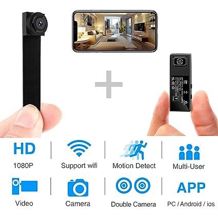 Spy Camera WiFi Mini Hidden Camera 1080P HD Portable Wireless Camcorder  Video Recorder IP Cameras with Dual Detachable Lens/Motion Detection Nanny  Cam