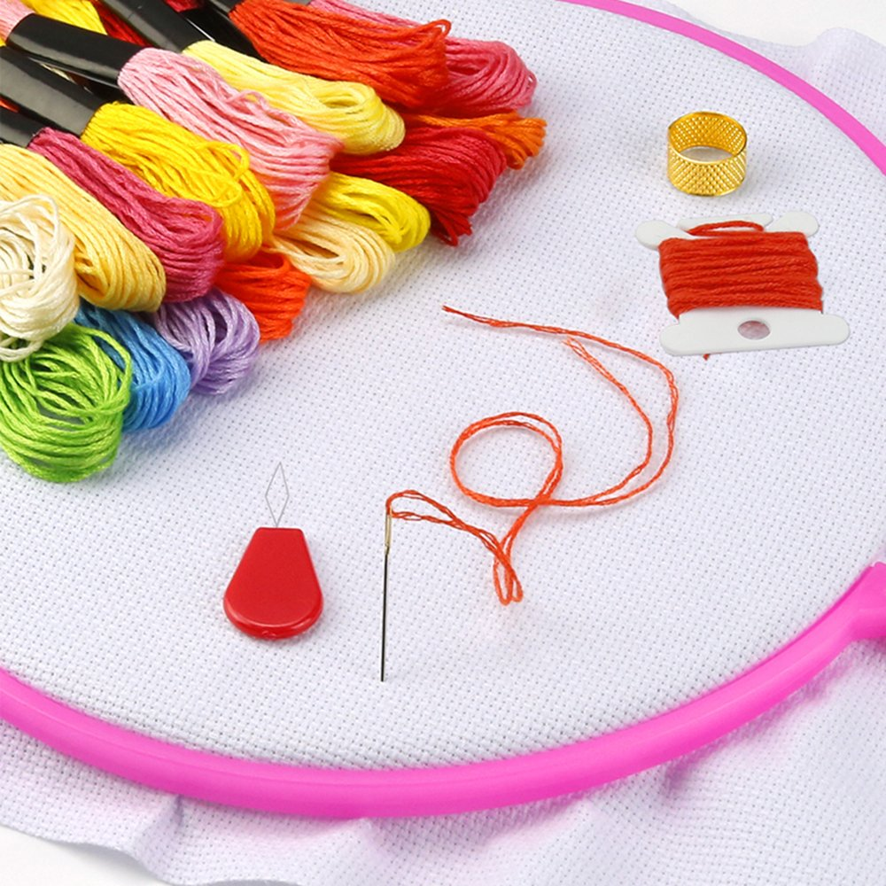 Caydo 5 Pieces 5 Colors Embroidery Hoops Plastic Cross Stitch Hoop Embroidery
