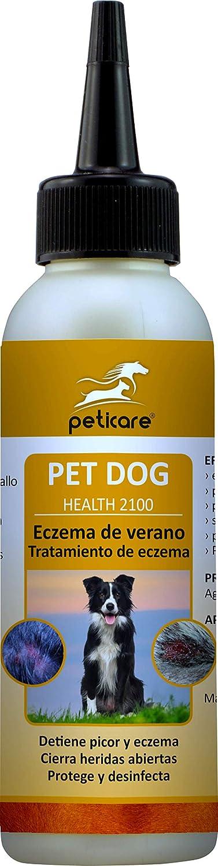 Peticare Perro Bio Locion contra Dermatitis Atopica - Tratamiento Eficaz para Todas Formas Eczema, Detiene Picores Fuerte, Productos de Cuidado 100% Organicos - petDog Health 2100 (100 ml)