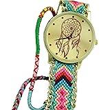 Chianrliu Chianrliu Dreamcatcher Bracelet D'Amitié Montres Femmes Tressent Montres HabilléEs, Vert+Rose
