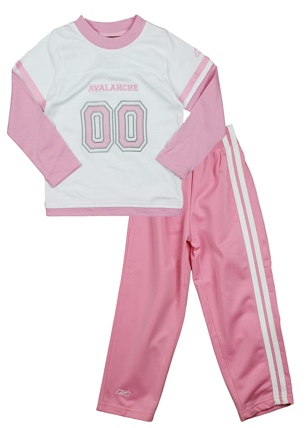 NHL Colorado Avalanche Little Girls 2-piece Sueded Jersey and Pants Set, White/Pink