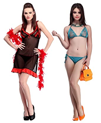 3e79978a41abb Amazon.com  Miss Pixy Women s Satin Combo of Bra   Panty Set and ...