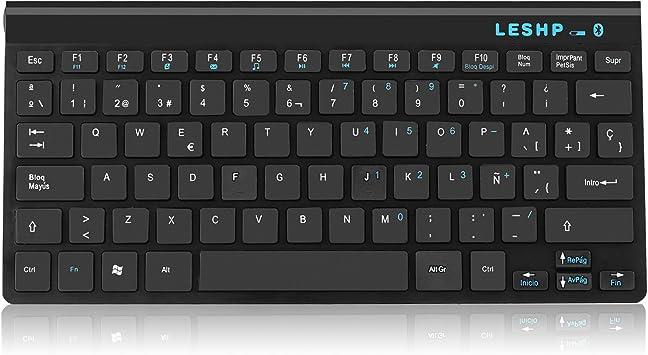 LESHP - Teclado Bluetooth con Disposición Español (ultra fino, 79 teclas, con ñ ç, pila incluída), negro