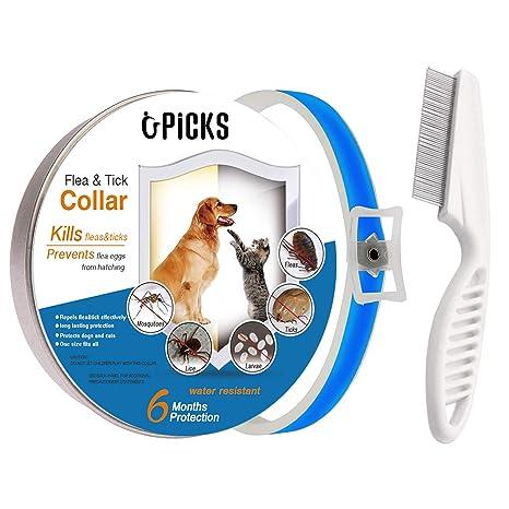U-picks - Collar para Perros y Gatos, 6 Meses, protección no tóxica, Control de garrapatas, Esencial Natural, hipoalergénico, Resistente al Agua