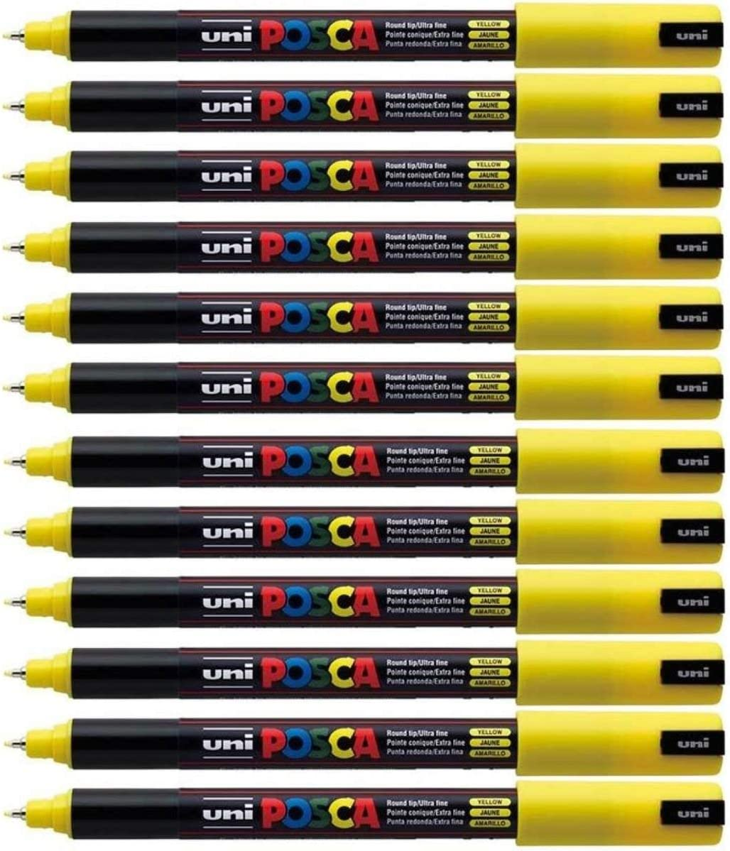 Uni Posca PC-1MR Yellow Paint Marker Pen Fabric Metal Glass Ultra Fine 0.7mm Nib