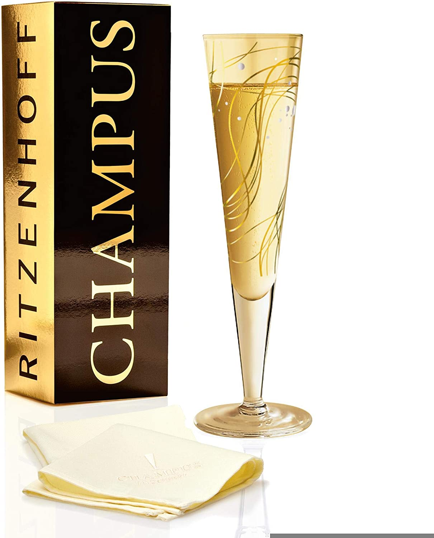 in cristallo RITZENHOFF Champus Bicchiere da champagne Natalia Yablunovska con tovagliolo in tessuto con eleganti parti in oro e platino 200 ml