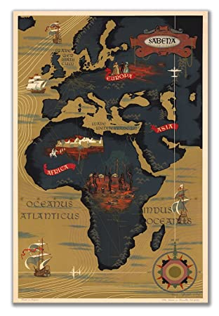 Map Of Africa 1950.Amazon Com Belgian Airlines Map Of Africa Circa 1950 Measures 24