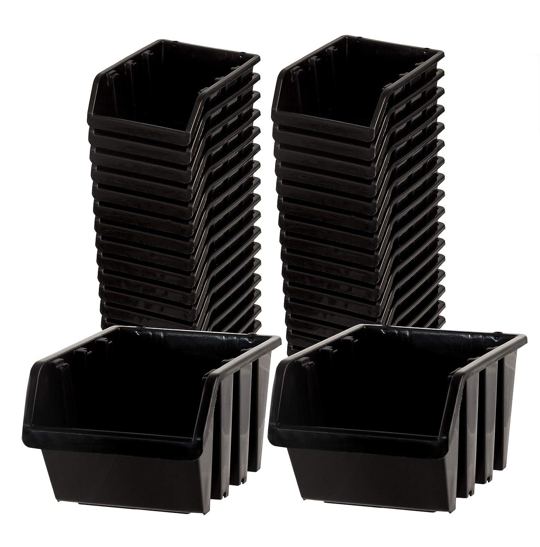 nestbar /& stapelbar Ordnungssystem f/ür Werkstatt BigDean Sichtlagerboxen Set 36 St/ück schwarz Gr/ö/ße 1 11,5x8x6 cm Keller /& Garage