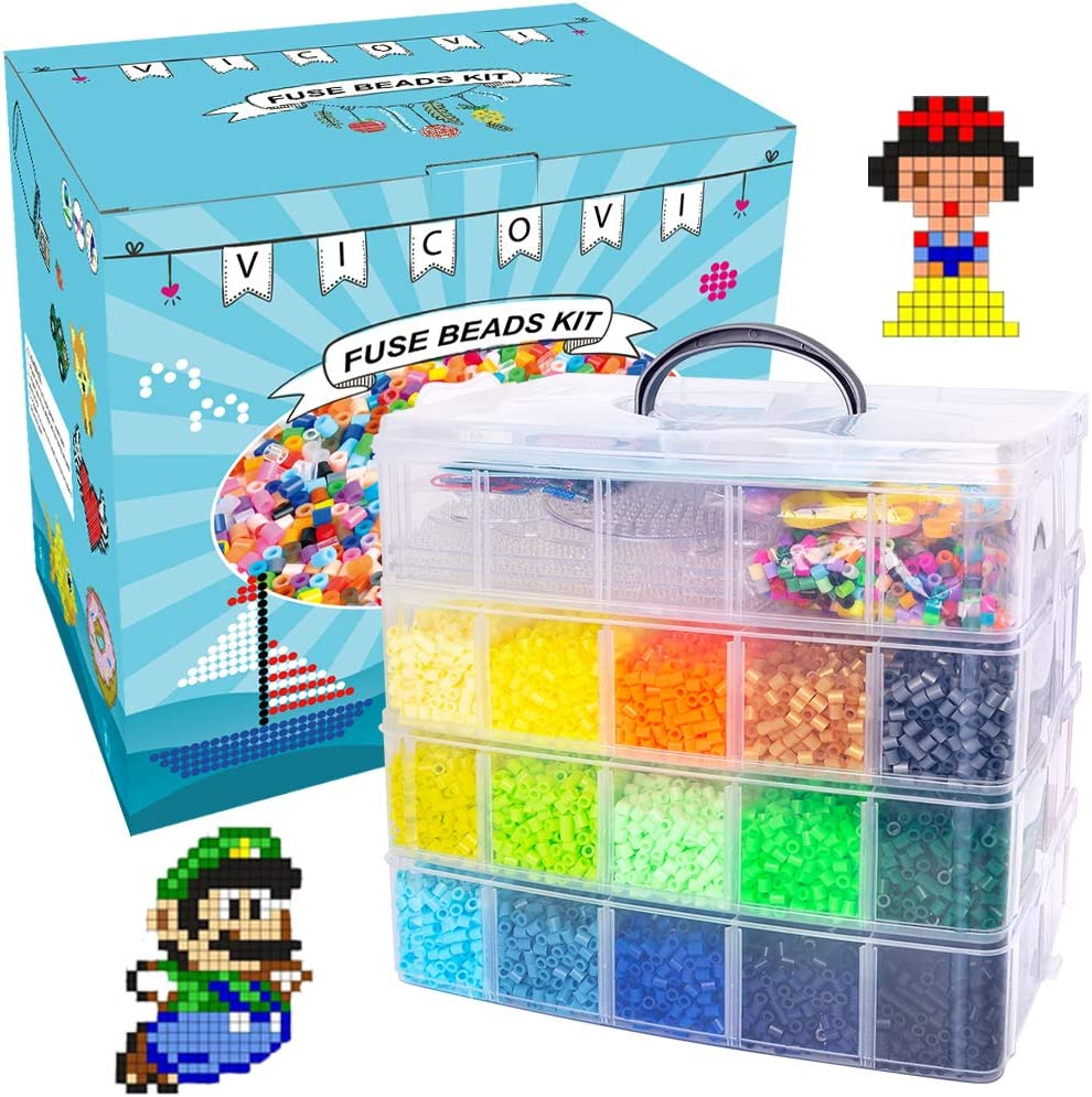4 Square Boards Melty Fusion Beads Arts /& Crafts Set Include 100 Patterns Ironing Papers Tweezers for Kids DIY Birthday Gift VICOVI 32000+pcs Fuse Beads Kit 30 Colors 5 MM