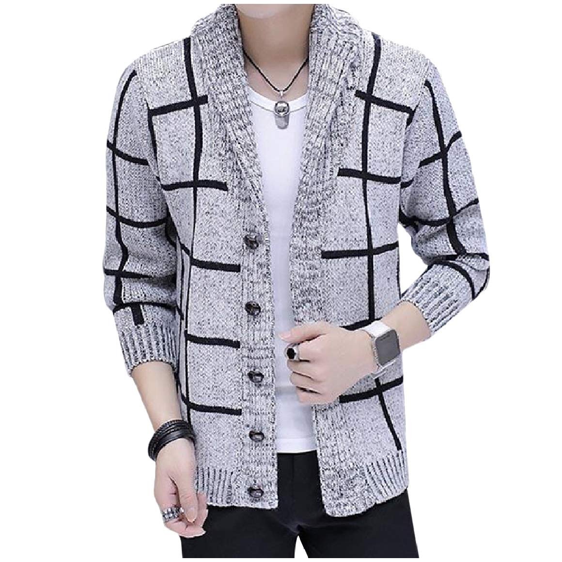 RDHOPE-Men Loose-Fit Casual Knitwear Button Down Shawl Collar Cardigan