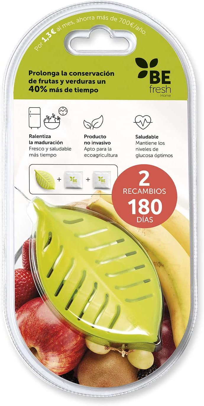 BEfresh Home - Frutas y Verduras Frescas Durante un 40% más de Tiempo | para Uso Dentro y Fuera de la Nevera | Pack 6 Meses | 1 Recipiente + 2 Sachets | Made in Spain