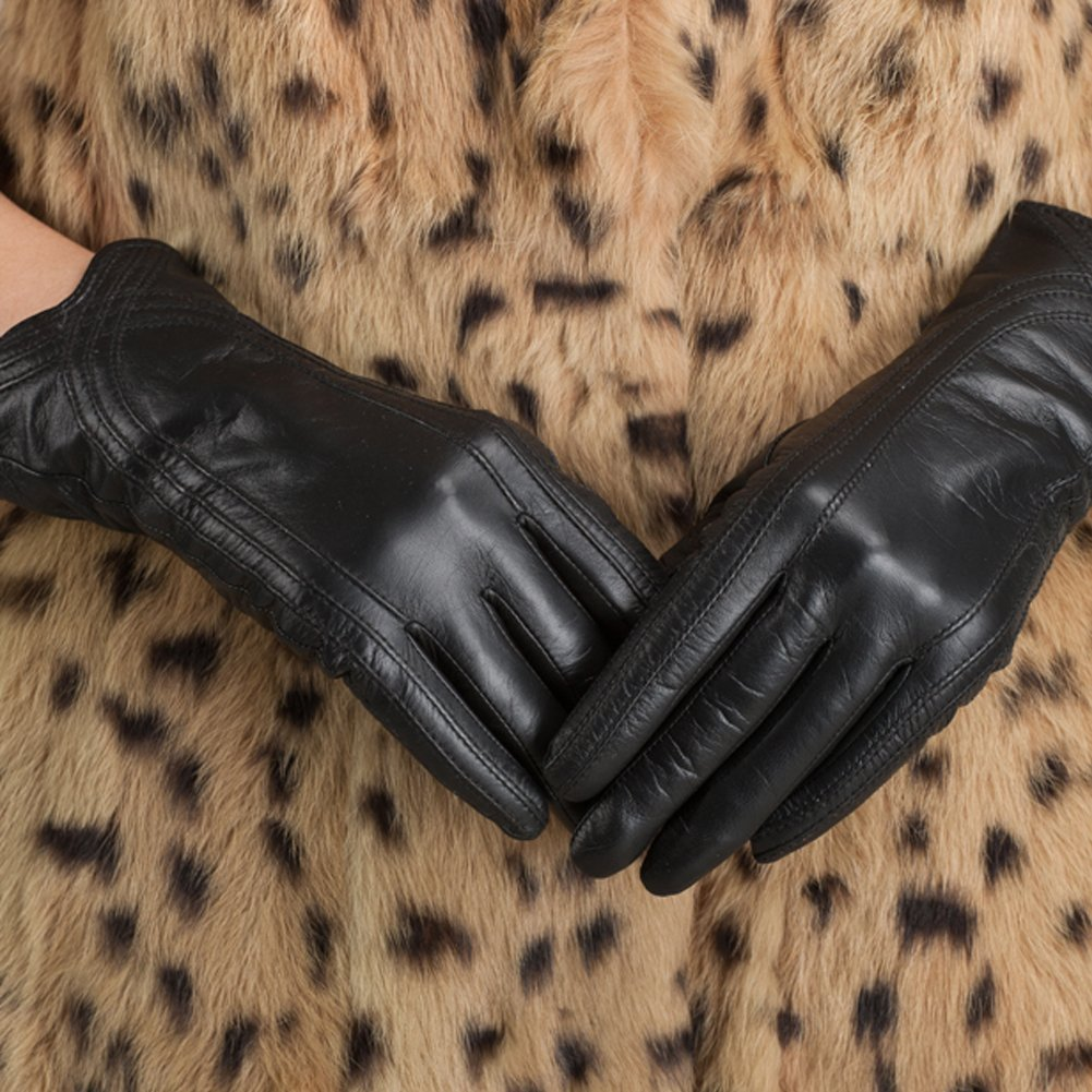 Nappaglo Nappa Leather Gloves Warm Lining Winter Handmade Curve Imported Leather Lambskin Gloves for Women (S, Black) by Nappaglo (Image #2)