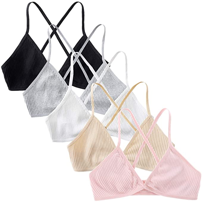 Peachat Triangle Bralette For Women A/B Cups Ribbed X Back Lightweight Thin Strap Bralette V Neck Pull On Unpadded Bra by Peachat