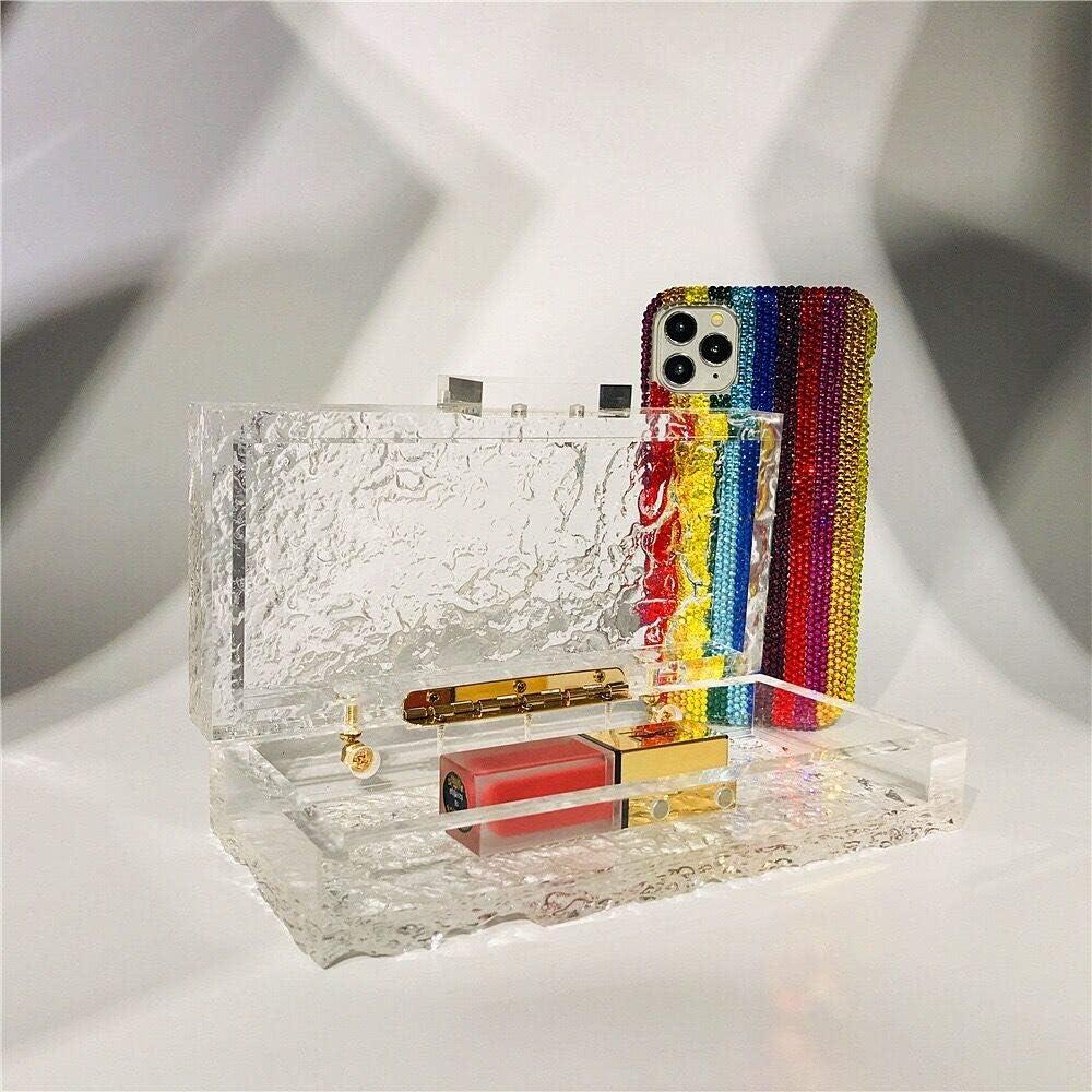 Cute Designer Acrylic Plastic Transparent Clear Clutch Bag Purse Evening Bag