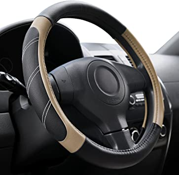 Car Steering Wheel Cover Black /& Wood Look Effect for Kia Carens All Years