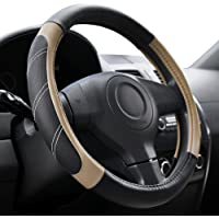 Elantrip Sport Leather Steering Wheel Cover 14 1/2 inch to 15 inch Universal, Padded Soft Grip Breathable for Car Truck…