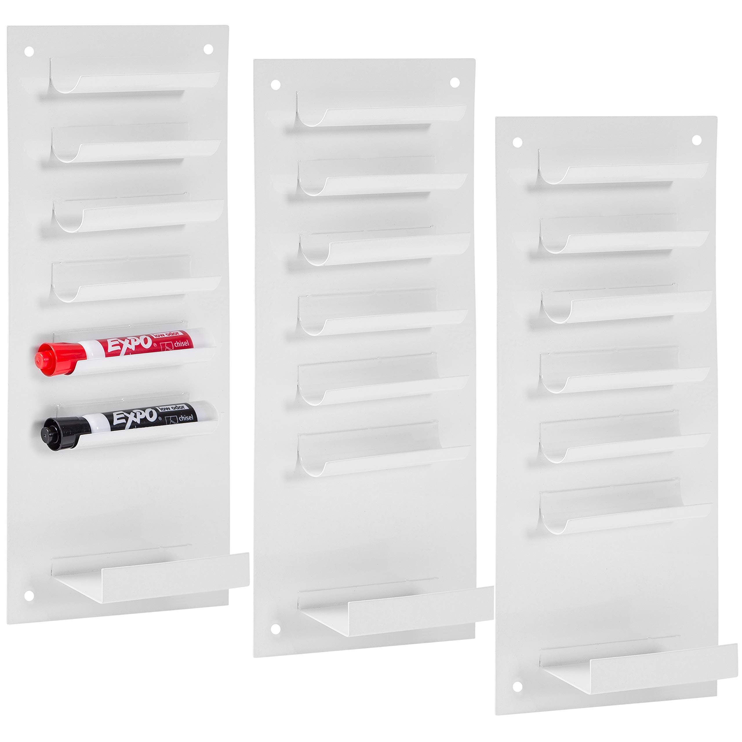 MyGift 6-Slot Wall-Mounted Metal Dry Erase Marker and Eraser Holder, Set of 3