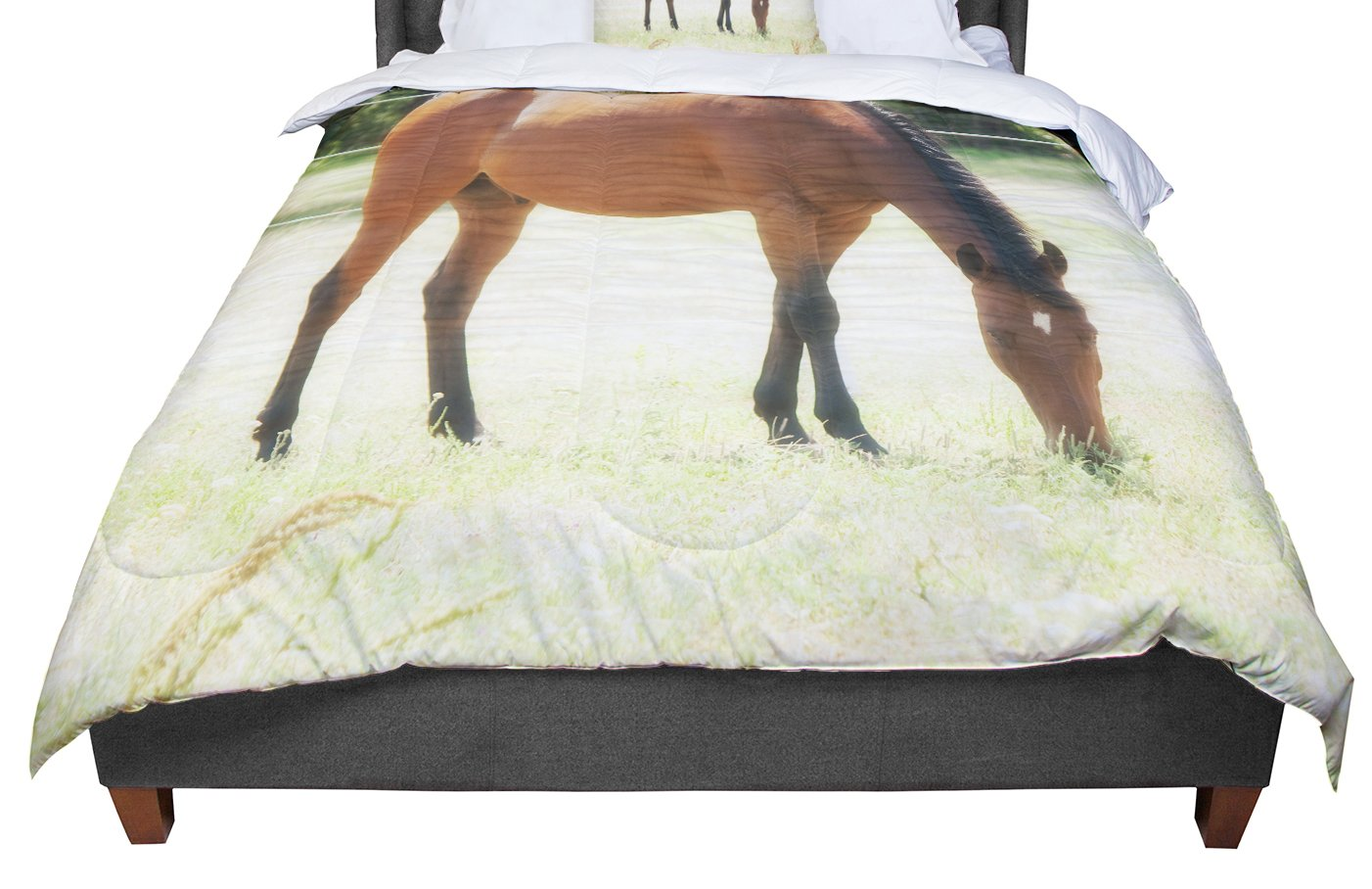 KESS InHouse Sylvia Coomes 'Grazing' Brown Animals Queen Comforter, 88' X 88'