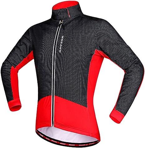 WOSAWE Giacca Uomo Ciclismo Antivento Biciclette Vento CappottoManica Lunga Fleece Termico Bici Abbigliamento