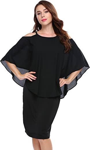 فستان Zeagoo نسائي مكشوف الكتفين الكشكشة المرقعة رقبة بأربطة واسعة متوسط الطول