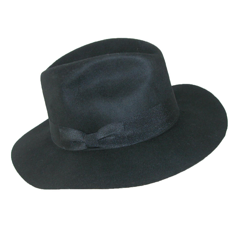 Tilley Womens Wool Floppy Brim Fedora Hat, Large 7 3/8 - 7 1/2, Black