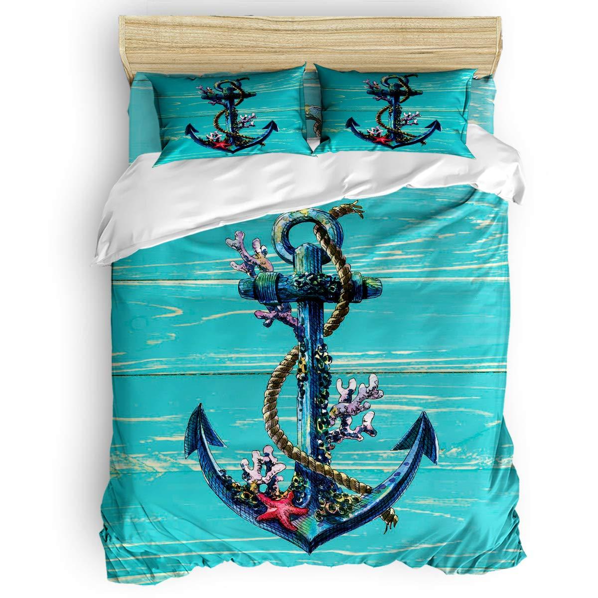 掛け布団カバー 4点セット 海洋生物 かわいいタコ サンゴ 花柄 寝具カバーセット ベッド用 べッドシーツ 枕カバー 洋式 和式兼用 布団カバー 肌に優しい 羽毛布団セット 100%ポリエステル セミダブル B07TGB2KSX Anchor7LAS3581 セミダブル