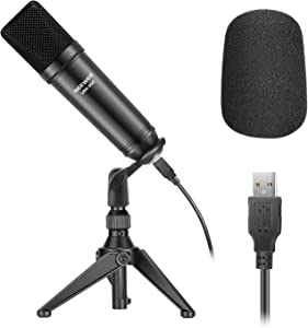 Neewer USB200 USB Microphone Kit 192KHz/24Bit Plug&Play Cardioid Podcast Condenser Mic with Professional Sound Chipset, Desktop Tripod, Adapter, USB Cable for Tiktok/YouTube Video/Meeting/Gaming etc