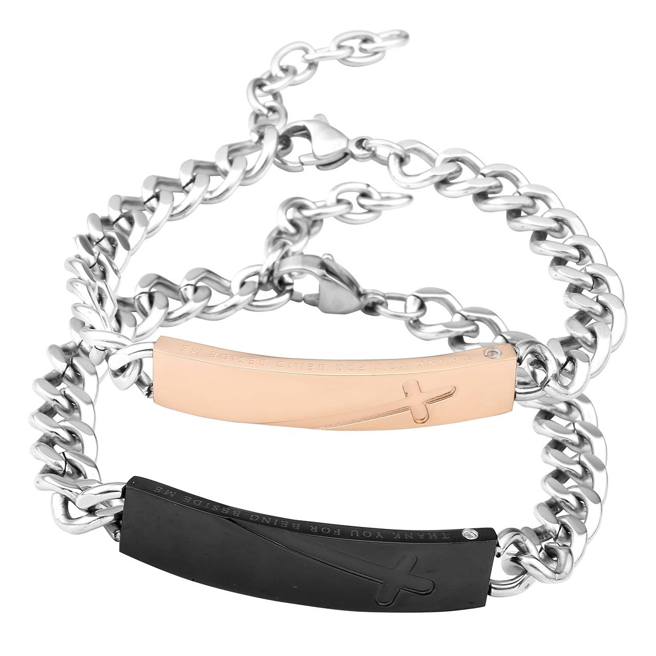 Zysta Bracelet Couple Acier Inoxydable\