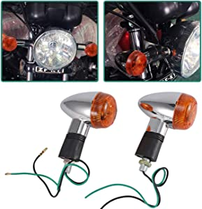 INNOGLOW Motorcycle Turn Signal Lights Chrome Bullet Front Rear Blinker Indicator Light for Harley Honda Kawasaki Suzuki Yamaha Motorcycle Street Standard Custom Bike Cruiser Bobber Chopper (2 PCS)