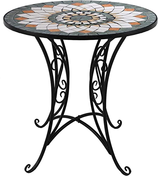 Wohaga® - Mesa de jardín Redonda con Mosaico, 70 cm de diámetro, Mesa Auxiliar de Hierro y cerámica: Amazon.es: Jardín