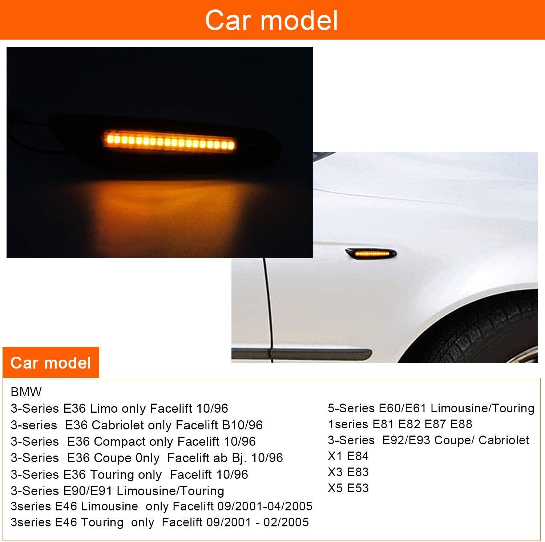 THE BEST DAY Clignotants lat/éraux dynamiques de marqueur de LED pour E90 E91 E92 E93 E46 E60 E82