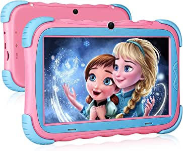 Kids Tablet - 7 inch IPS Eye Protection Display, 16GB ROM,Dual Camera, Parental Control, Kids-Proof Bluetooth WiFi Android Tablet,Pink
