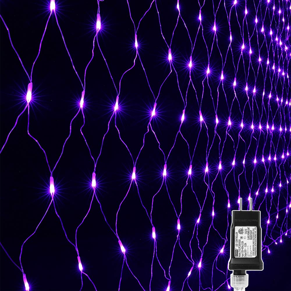 Lyhope 12ft x 5ft 360 LED Decorative Net Lights, 8 Modes Low Voltage Mesh Halloween Lights for Xmas Trees, Bushes, Wedding, Garden, Outdoor, Indoor Decor (Purple) by LYHOPE