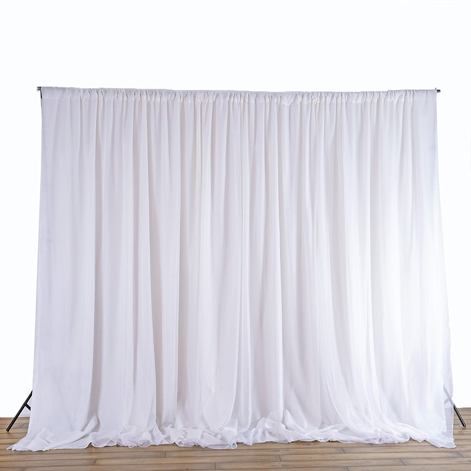 BalsaCircle 20 feet x 10 feet White Fabric Backdrop Drapes Curtains - Wedding Ceremony Event Party Photo Booth Home Windows