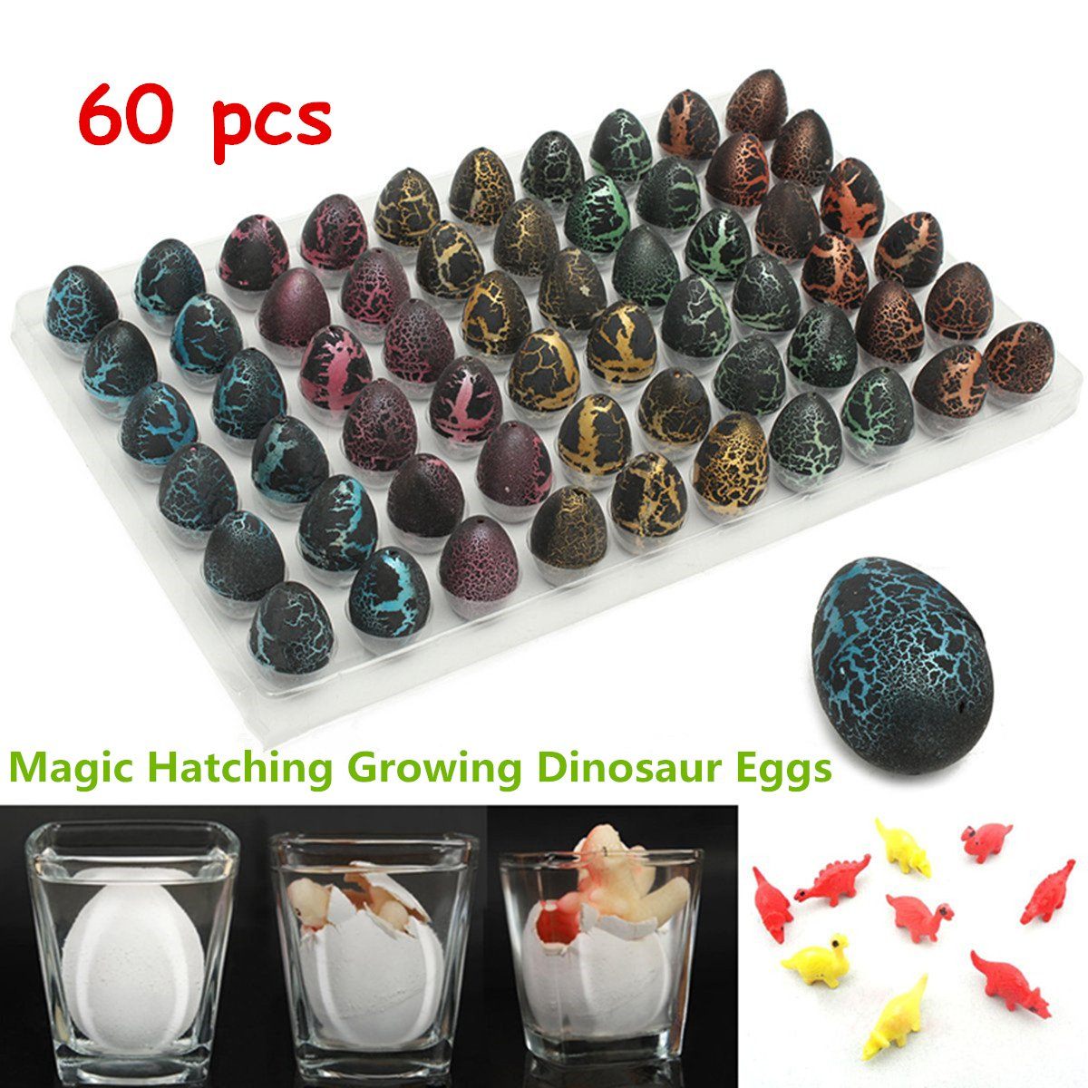 CAVEEN 60pcs Magic Hatching Growing Pet Dinosaur Eggs Mini Toy Dinosaur Add Water Hatching Dino Growing Toy Gifts by Caveen