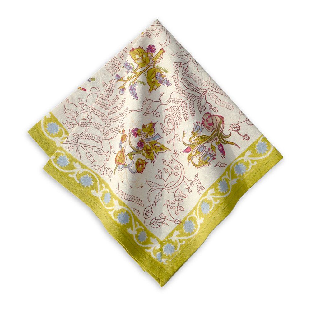 Couleur Nature 19-inches by 19-inches Fleur Napkins, Petit, Green, Set of 6
