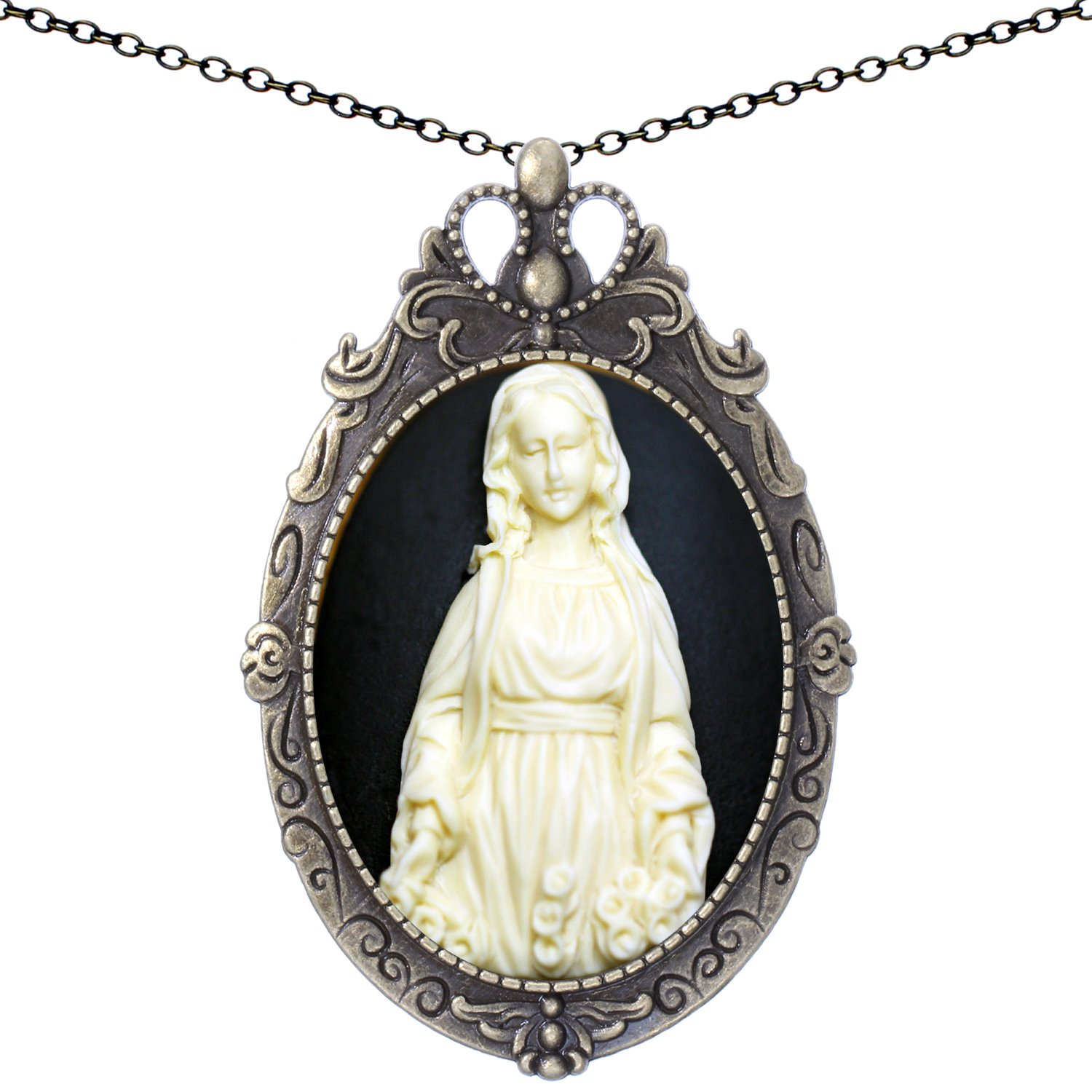 Shield Statue Brooch Antique Brass Shape Pendant Mary Necklace Two Way 20'' Chain Pouch Gift