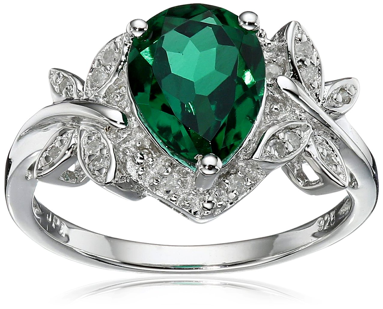 Sterling Silver Created-Emerald and Diamond Dragonfly Ring (1/14 cttw, I-J Color, I2-I3 Clarity), Size 7