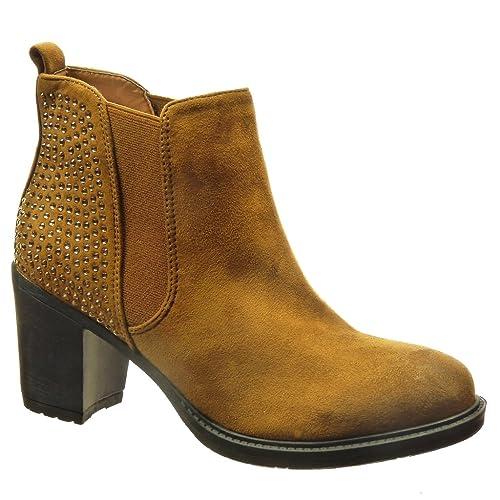 Angkorly Zapatillas Moda Botines Chelsea Boots Mujer Strass Tacón Ancho Alto 7 CM: Amazon.es: Zapatos y complementos