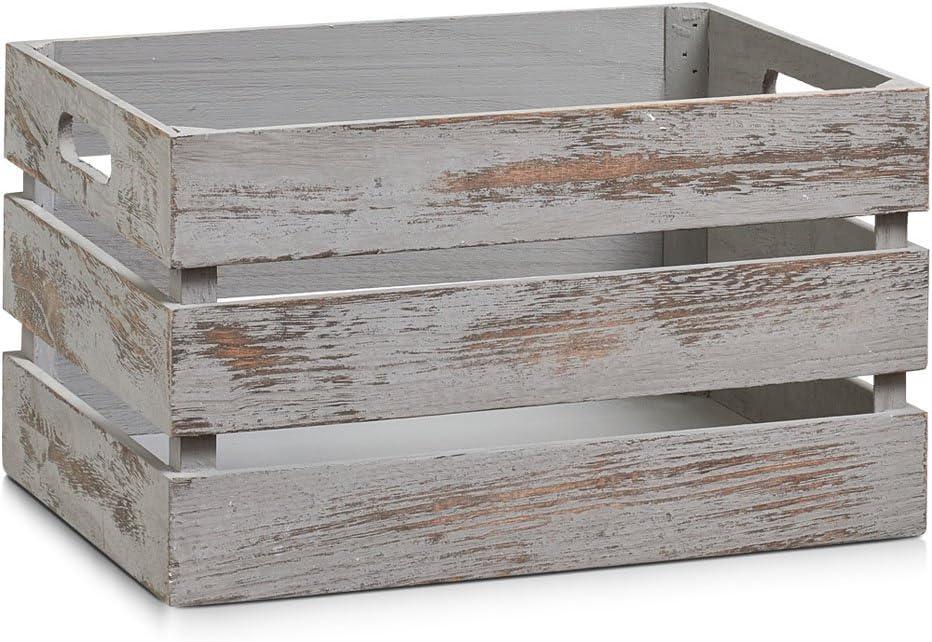 Zeller 15137 Caja de Almacenamiento, Madera, Gris, 35x25x20 cm: Amazon.es: Hogar