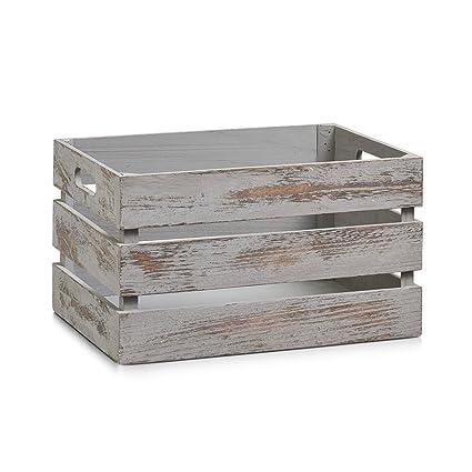 Zeller 15137 Caja de Almacenamiento, Madera, Gris, 35x25x20 cm. Pasa ...