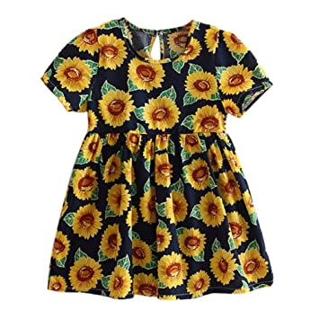 345a95b204ef1 Amazon.com: Luxsea New Girl Sunflower Short Sleeve Child Flower Dress: Baby