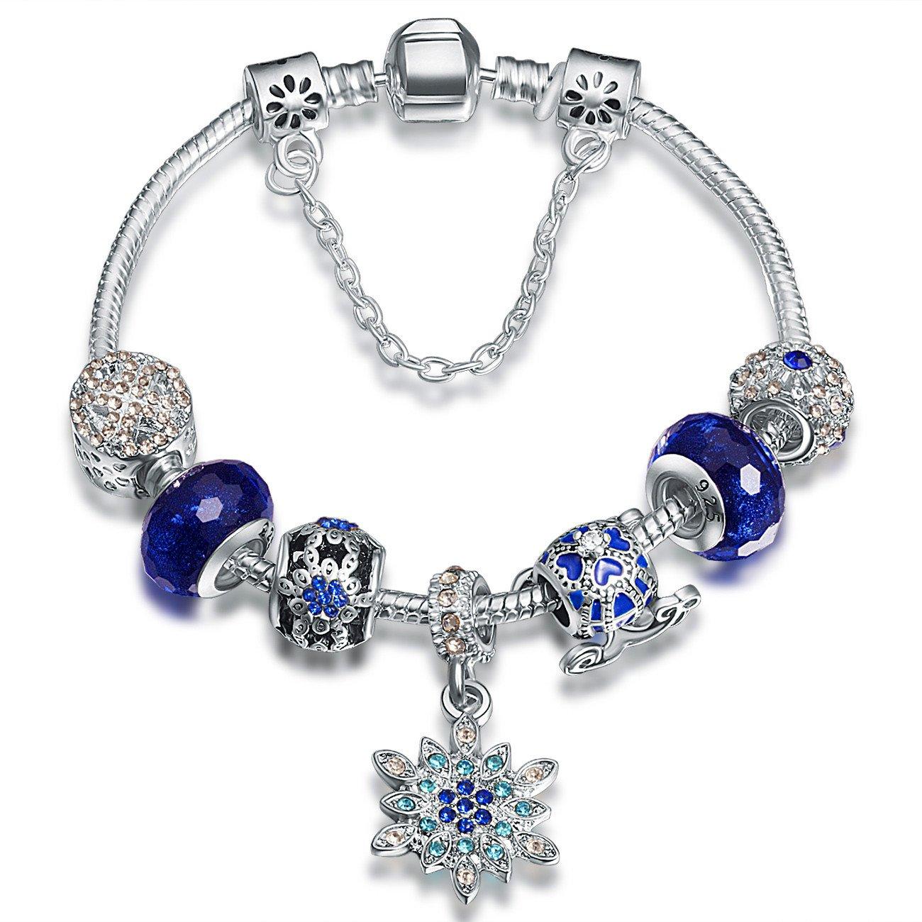 ATE Charm Bracelet Crystal Murano Glass Beads Women Gifts JW-B180 (Blue3)