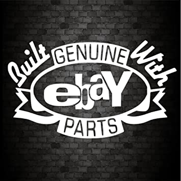 Built with genuine ebay parts sticker funny car van bike caravan window bumper novelty vinyl decal