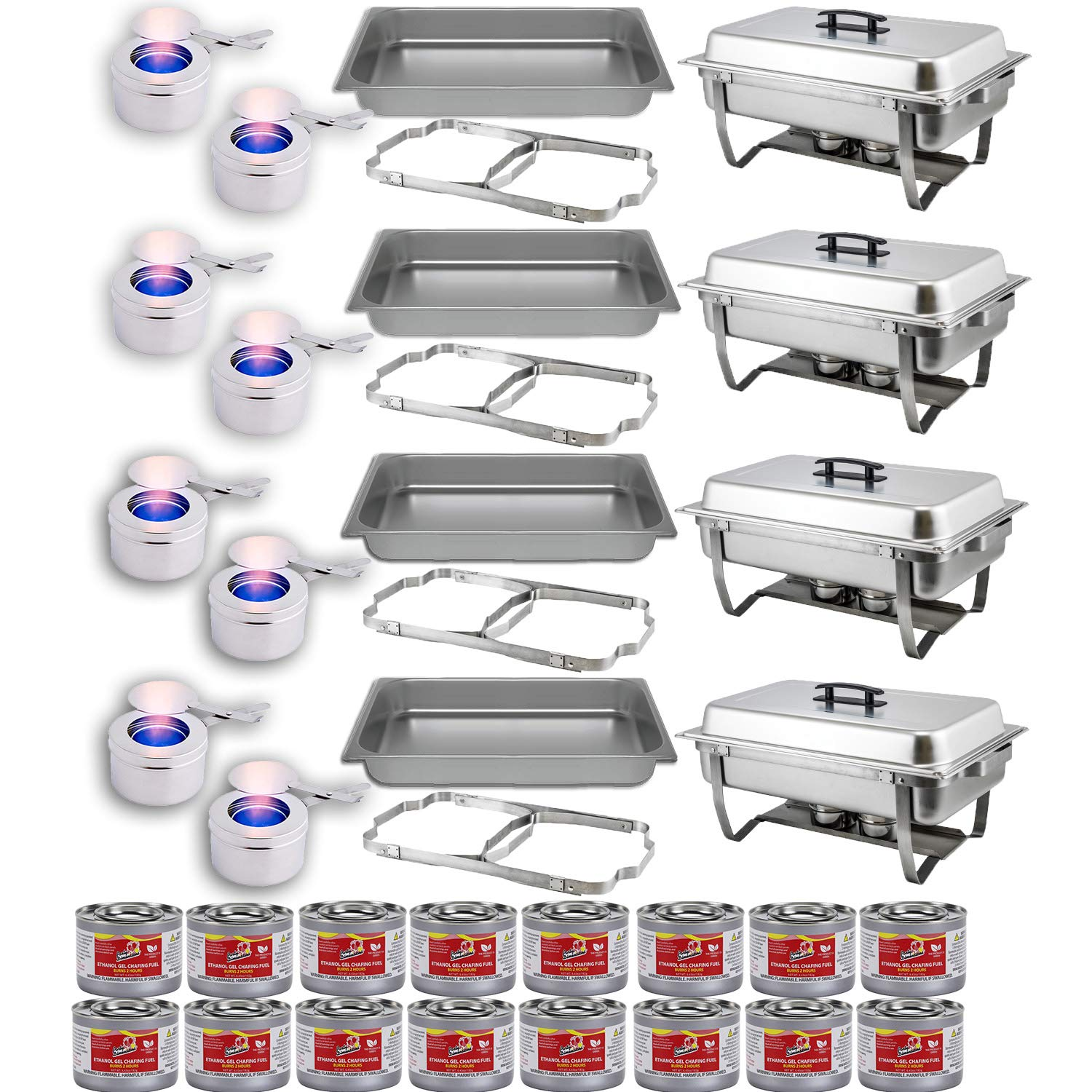 Chafing Dish Buffet Set w/Fuel — Folding Frame + Water Pan + Food Pan (8 qt) + 8 Fuel Holders + 16 Fuel Cans – 4 Full Warmer Kit