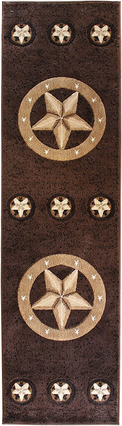 Rugs 4 Less Collection Texas Lone Star State Novelty Runner Area Rug R4L 78 Chocolate / Brown (2'x7')