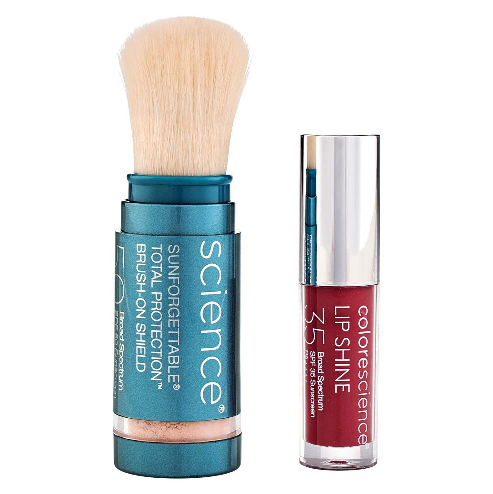 Colorescience Sun Protection Duo, Mineral Powder Sunscreen SPF 50, Lip Shine SPF 35, 1 Set