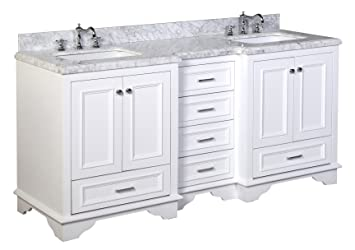 Kitchen Bath Collection KBC1272WTCARR Nantucket Bathroom Vanity With Marble  Countertop, Cabinet With Soft Close Function