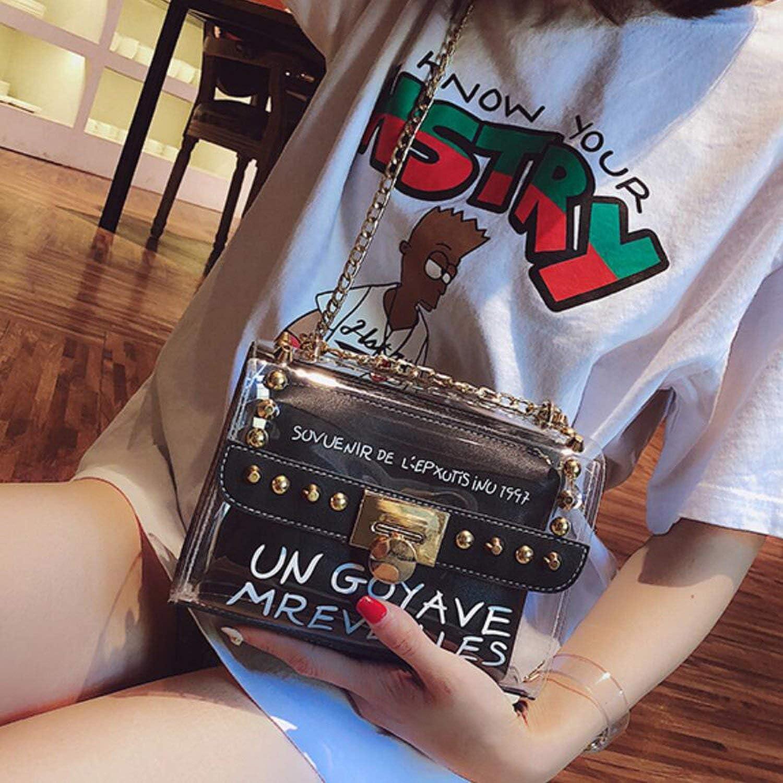 New HandbagPVC Transparent Women bag Sweet Printed Letter Square Phone bag Chain Shoulder bag